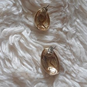 Trifari Jewelry - Two Pairs of Gold Toned Studded Earrings